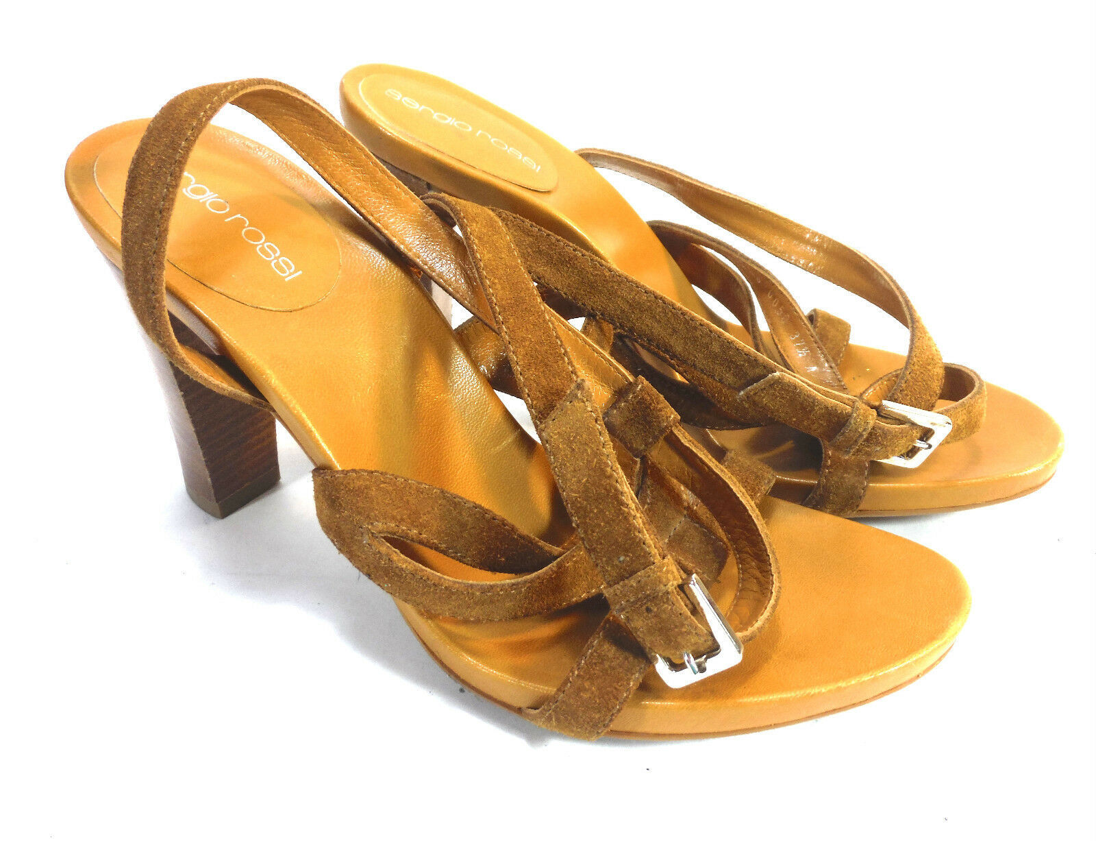 super gorgeous pair of SERGIO ROSSI brown suede strappy tall sandals 8 37.5