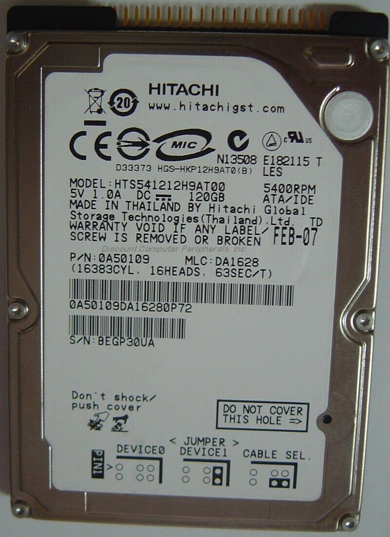 """NEW 120GB 2.5"""" IDE HTS541212H9AT00 Hitachi 44PIN Hard Drive Free USA Shipping"""