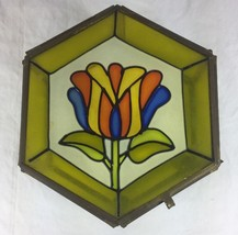 Vintage Tulip Flower Floral Stain Glass Pentagon Brass Edge Trinket Box - $23.55