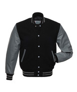 BLACK Wool Varsity Letterman Bomber BASEBALL Jacket, GREY Pure Leather Sleeves - $88.11 - $94.05