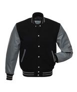 BLACK Wool Varsity Letterman Bomber BASEBALL Jacket, GREY Pure Leather Sleeves - $88.11 - $94.05