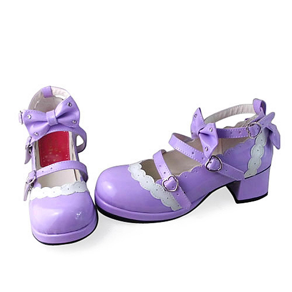 1.8 Inch Heel Ankle High Round Toe Bow Decor White Lace Purple PU Lolita Shoes
