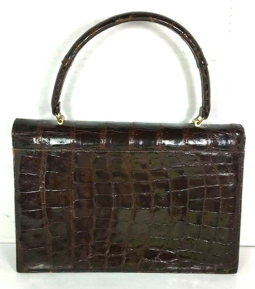 Bellestone True Vintage Brown Reptile Print Leather Handbag
