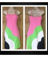 Tibi Dress Retro Mod Colorblock Sz 2 Pink Green White Black Cotton Canad... - $59.39