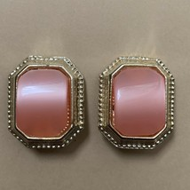 Vintage Pink Thermoset Style Clip On Earrings Gold Tone Plastic Chunky - $14.80