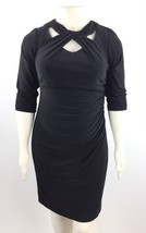 INC Cutout Sheath 3/4 Sleeve Ruched Stretch Dress Women's Black Plus Sz ... - $29.69
