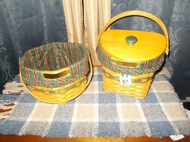 2 Longaberger Christmas Collection 1997 & 1998 Green Baskets Combo - $74.25