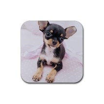Cute Sweet Chihuahua Puppy Puppies Dogs Pet Animal (Square) Rubber Coaster - $2.99