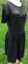 Betsey Johnson New York Black And White Polka Dot Ss Dress Black Mesh Top 12 - $63.35