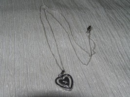 Vintage Sterling Silver Signed Dainty Chain with Concentric Heart & Diamond Chip - $13.99