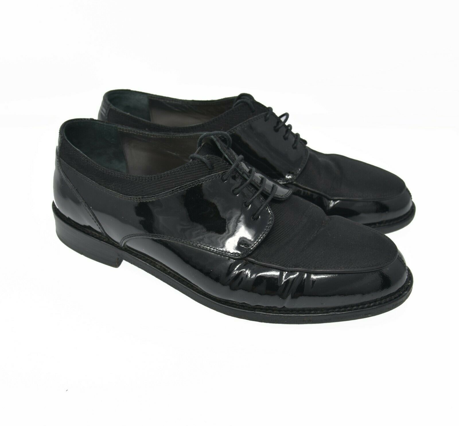 Cole Haan Evening Women's Sz 7.5D Black Leather Fabric Lace Up Oxford Dress Shoe
