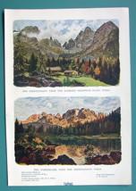 TYROL ALPS Austria - 1901 Offset Litho Print COLOR Two Views - $7.27