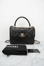 AUTH NEW CHANEL BLACK DIAMOND QUILTED LAMBSKIN TRENDY CC HANDLE FLAP BAG  image 1