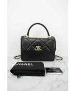 AUTH NEW CHANEL BLACK DIAMOND QUILTED LAMBSKIN TRENDY CC HANDLE FLAP BAG  - $5,599.99