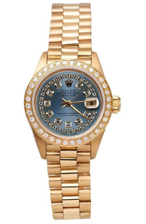 Blue string diamond dial rolex presidential style watch gold bezel     FGW210177
