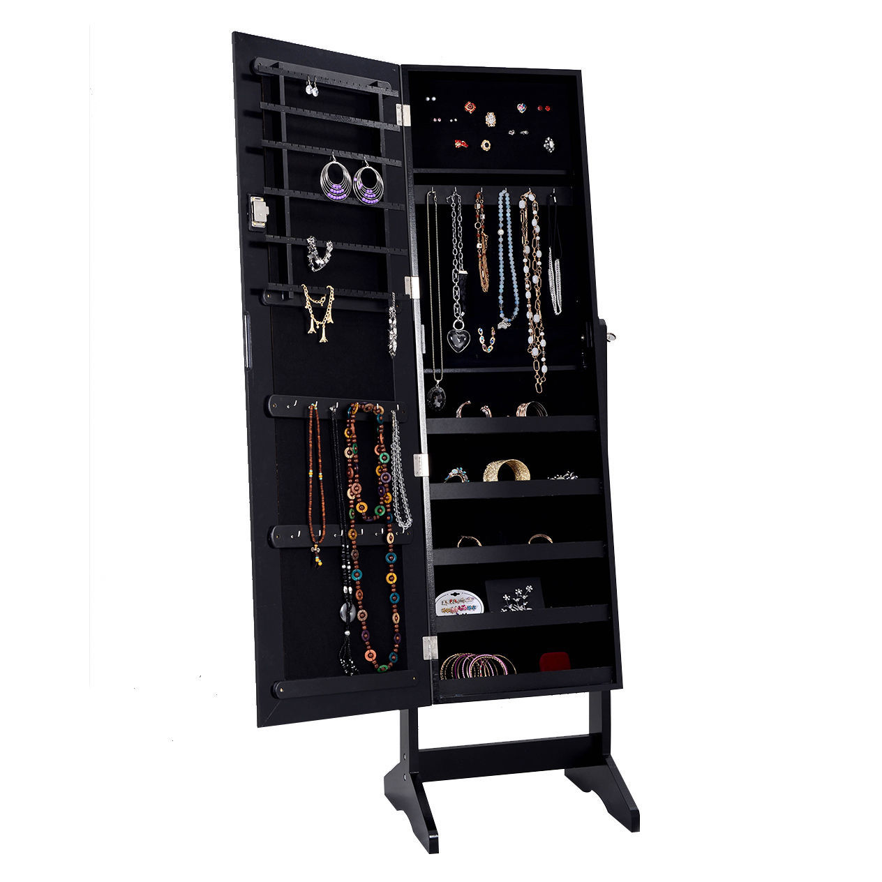 Black mirrored jewelry cabinet armoire and 50 similar items for Mirror jewelry storage