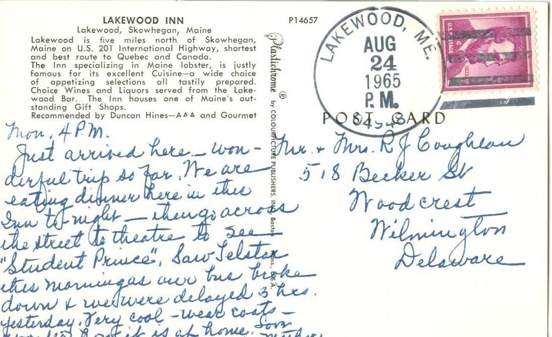 Lakewood Inn, Lakewood, Skowhegan, Maine, 1965 used Postcard
