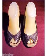 Buskens Peep Toe Sling Back Wedge Heel-6-6.5 B;NAVY BLUE;MADE IN BRAZIL;... - $49.99