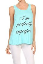 "Women's Screen Printed ""Perfectly Imperfect"" Graphic Tank (Sky Blue, Siz... - $18.80"