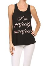 "Women's Screen Printed ""Perfectly Imperfect"" Graphic Tank (Black, Size S... - $18.80"