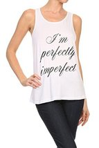 "Women's Screen Printed ""Perfectly Imperfect"" Graphic Tank (White, Size L... - $18.80"