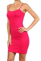 ICONOFLASH Women's Nylon Seamless Long Cami Slip Dress (Fuchsia, Regular) - $12.86