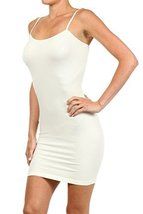 ICONOFLASH Women's Nylon Seamless Long Cami Slip Dress (Ivory, Regular) - $12.86