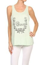 "Women's ""So Fancy"" Screen Printed Graphic Tank (Mint, Size Medium) - $18.80"