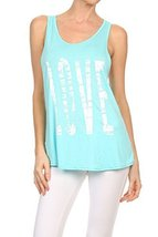 "Women's ""LOVE"" Screen Printed Graphic Tank (Baby Blue, Size Medium) - $18.80"