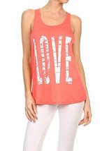 "Women's ""LOVE"" Screen Printed Graphic Tank (Salmon, Size Medium) - $18.80"