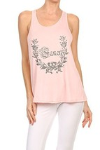 "Women's ""So Fancy"" Screen Printed Graphic Tank (Pink, Size Medium) - $18.80"