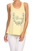 "Women's ""So Fancy"" Screen Printed Graphic Tank (Yellow, Size Large) - $18.80"