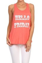 "Women's ""HELLO FRIDAY"" Screen Printed Graphic Tank (Coral, Size Large) - $18.80"