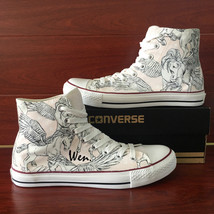 White High Converse All Star Pegasus Design Hand Painted Shoes Canvas Sneakers - $155.00