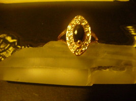 Haunted Male Vampire Black Stoned Ring 7 Seeks One True Keeper  9 K Gold Overlay - $125.00