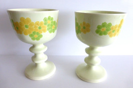Franciscan Picnic Goblets Green Yellow Flowers Daisy - $15.20