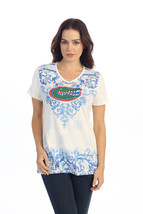 Florida Gators Ladies Ivory Victorian Front Print Shirt - €17,74 EUR