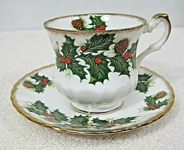 Rosina Queens Yuletide Scalloped Footed Cup & Saucer Pinecones Holly Gol... - $32.18
