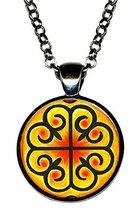Adinkra Nyame Dua of Gods Altar for Presence & Protection Gunmetal Pendant - $14.95