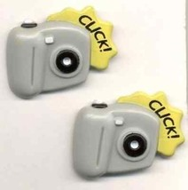 Funky CAMERA BUTTON EARRINGS-Photography Hobby Charm Paparazzi Costume J... - $5.99