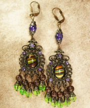 Bohemian Hippie Earrings Dramatic Renaissance genuine Amethyst Chandelie... - $95.00
