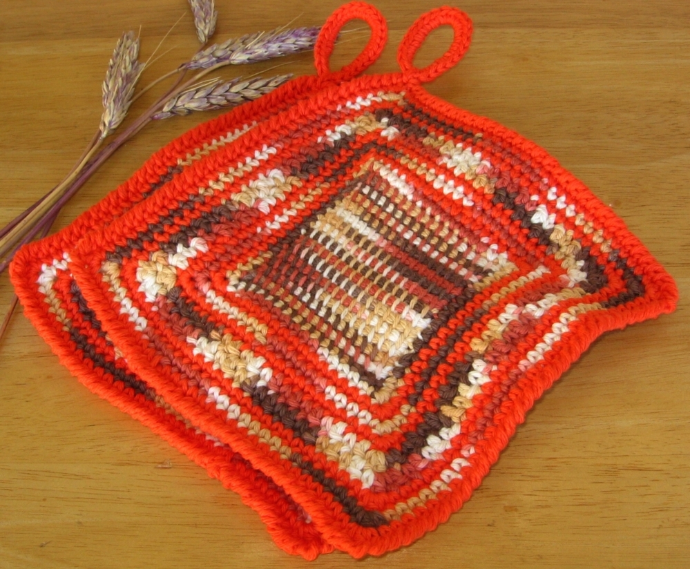 Fall Leaves Hanging Potholder Set of 2 - Handmade Decor by RSS Designs In Fiber