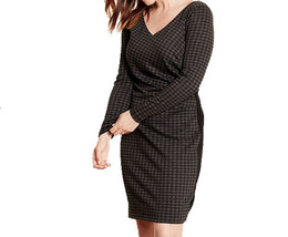 New RALPH LAUREN 20W plus size houndstooth check dress charcoal black po... - $87.29