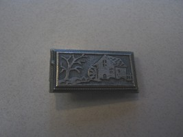 OLD MILL WITH MILL WHEEL AND TREE ON SMALL TIE CLASP - $9.89