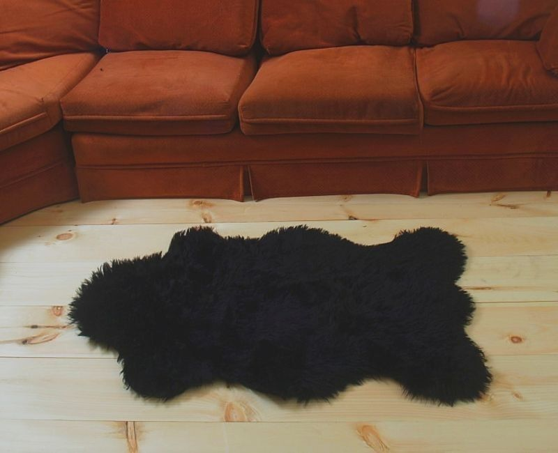 "3'5"" x 4' 6"" Faux Fur Black  Bear Rug, Fake Bear Rug, Fake Bearskin"