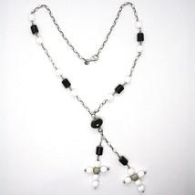 Collier en Argent 925, Onyx Noir Tuyau , Double Croix Pendentif, Chaîne Ovale image 1