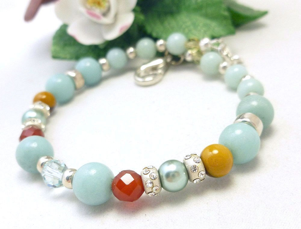 Amazonite carnelian citrine sterling beaded bracelet 8 inch blue aqua  97aa6e13 512345 1