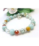 Amazonite Carnelian Citrine Sterling Beaded Bracelet 8 inch Blue Aqua  - $26.00