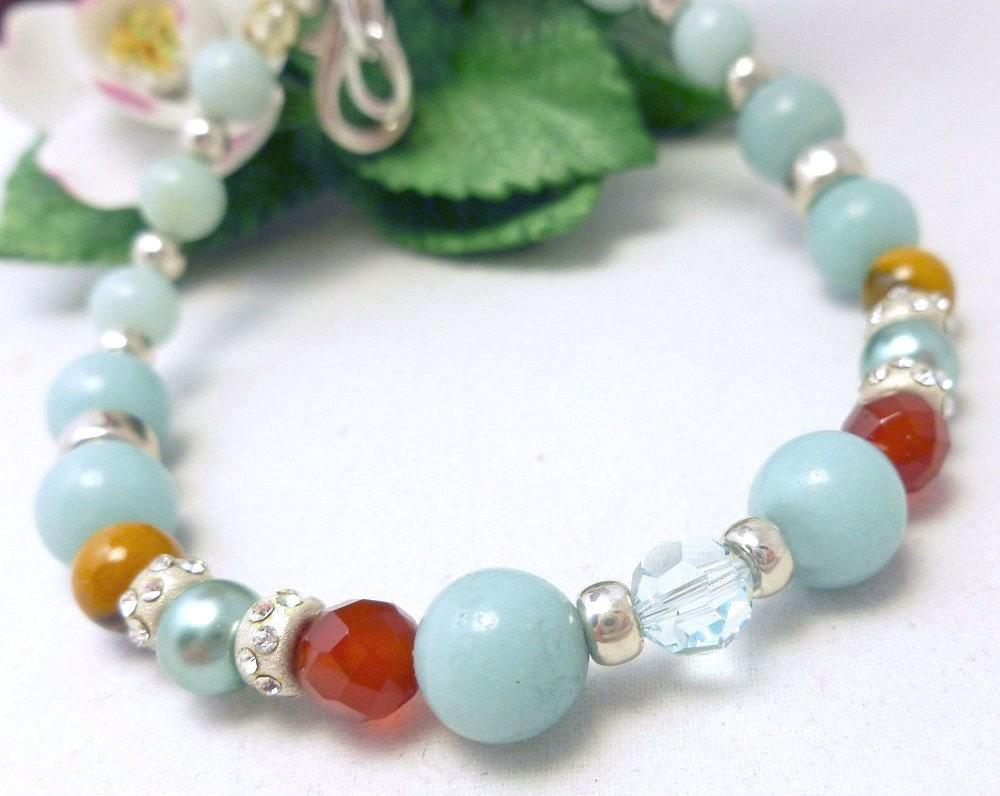Amazonite carnelian citrine sterling beaded bracelet 8 inch blue aqua  90f18e8d 285929 1