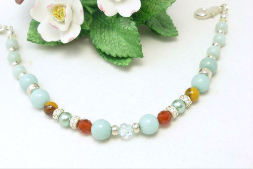 Amazonite carnelian citrine sterling beaded bracelet 8 inch blue aqua  8e30c60d 532825 1